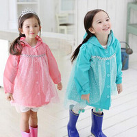 New Baby Girls Frozen Elsa Anna Princess Hooded Coat Autumn Kids Tutu Outwear With Top Hoodies Children Cotton Veil Clothes Jackets.