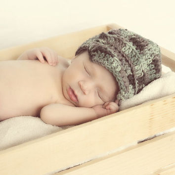 Camo Baby boy newsboy hat and diaper cover