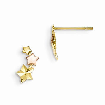 14k Two-tone Gold Star Post Earrings