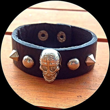 Genuine Leather Skull Studded Bracelet  - Black leather cuff bracelet with skull and studs