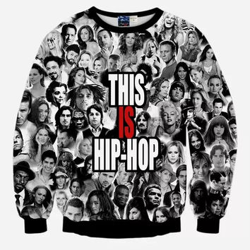 This Is Hip Hop Crew Neck Sweatshirt Men & Women Stars Collage Harajuku Style All Over Print Black & White Sweater
