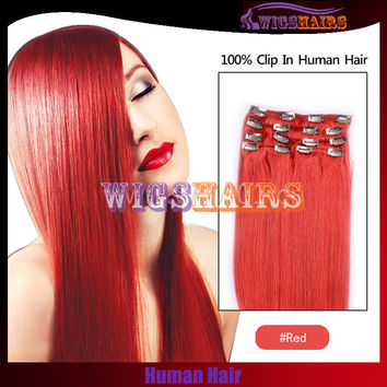 Red Human Hair Straight Clip in Hair Extensions