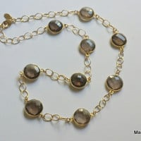 Faceted Bezeled Smoky Quartz Gold Filled Chain Necklace