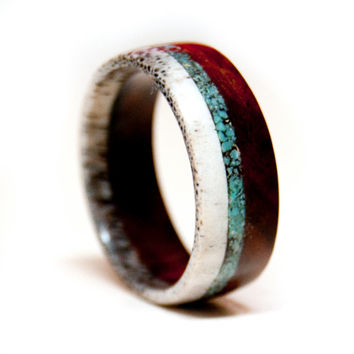 Wood and Antler Ring Band with Turquoise Inlay - Unique Wedding Band