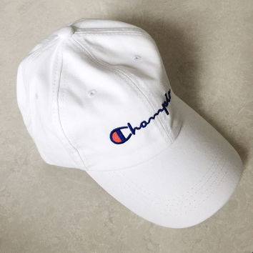 """champion"" Embroidered cap student movement baseball cap hat men and women White"