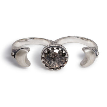 Crescent Moons Double Ring | Silver / Tourmalated Quartz