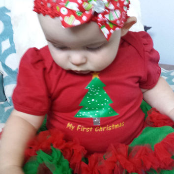 Babies First Christmas Outfit, My First Christmas Red and Green Tutu