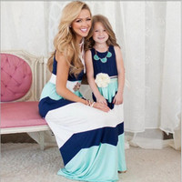 2016 Summer Mother Daughter Dress Stripe Matching Mother Daughter Clothes Family Look Mom And Daughter Dresses Ropa Mama E Hija