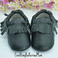 Baby Moccasins, Black Moccasins, Baby Boy Shoes, Baby Girl Shoes, Baby Boy Moccasins, Toddler Moccasins, Soft Baby Shoes, Crib Shoes