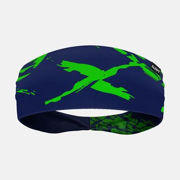 Ripped X Green and Blue Headband