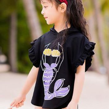 Kids Swimwear For Girls Sexy Bikini Junior Swimsuit Baby Clothes 2018 Summer Children Big Boy Long Sleeve Three Piece Biquini