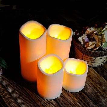 Cylindrical Flickering Flameless Pillar LED Tealight Candles Night Lights Lamp Battery Operated For Home Wedding Party Decor