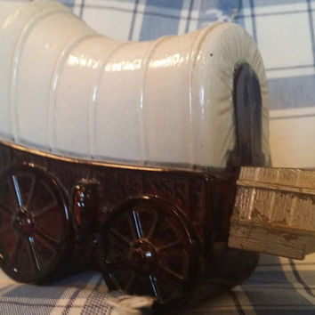 Avon Covered Wagon Cologne Bottle, 1970s Vintage Avon Bottle, Brown Glass Avon Bottle