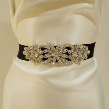 Bridal Rhinestone Sash BLACK Bridal Belt by BellaCescaBoutique
