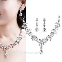 Silver Crystal Drop Wedding Necklace Earrings Jewelry Set Bridal Bridesmaid Gift = 1932506820