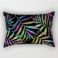 Rainbow Tropical Frond Pattern Rectangular Pillow by Robin Curtiss