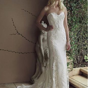 [196.99] Modest Tulle Sweetheart Neckline Mermaid Wedding Dresses With Lace Appliques - dressilyme.com
