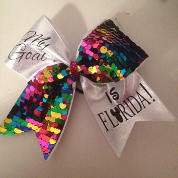 My Goal is Florida Rainbow Sequin Bow