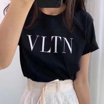 Valentino 2019 new simple letter print loose round neck half sleeve t-shirt black