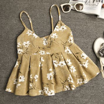 Strap Print Flowers Fashion Vest Tank Top Camisole