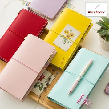 Cute Faux leather Macaron travelers notebook bohemia journal Diary notepad fruit color student planner stationery gift school