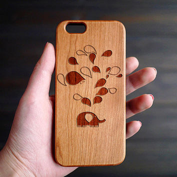 Unique iPhone 6 6s Case Wood , Elephant Spit Bubble Wood iPhone 6 6s Case , Wooden iPhone 6 6s Case , Wood Phone Case , Durable iPhone Cases