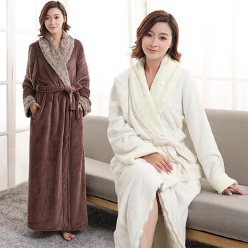 Women Men Extra Long Thermal Flannel Bathrobe Soft fur Kimono Bath Robe Winter Bridesmaid Robes Sexy Peignoir Warm Dressing Gown