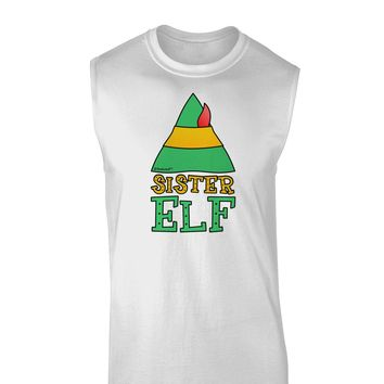 Matching Christmas Design - Elf Family - Sister Elf Muscle Shirt