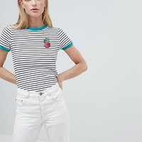 Brave Soul Pina Stripe T-Shirt with Sequin Badge at asos.com