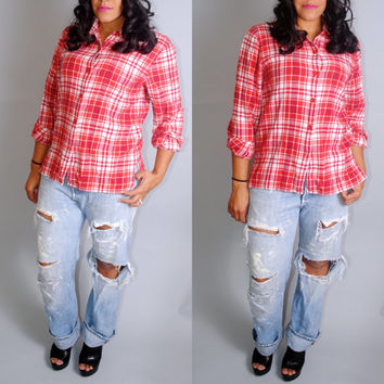 Vintage 1990s GAP red GRUNGE plaid oversize long sleeve button down SOFT paper thin flannel shirt blouse small