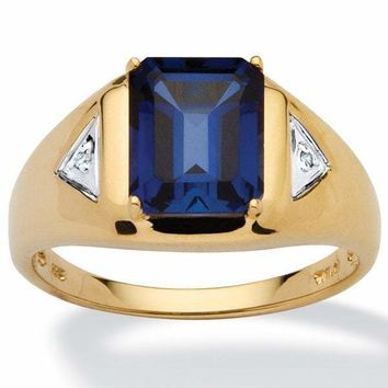 Emerald-Cut Sapphire Gold over .925 Sterling Silver Ring For Men