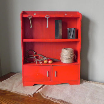 Vintage doll furniture cupboard display shelf curio shelf spice cabinet hooks on the top - painted a cheery red