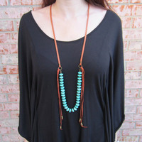BLACK FRIDAY. Turquoise Necklace. Turquoise and Leather Necklace. Leather Necklace. Boho Necklace.