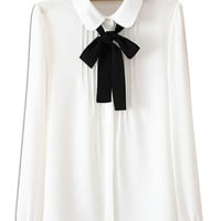 White Ruched Front Bow Tie Long Sleeve Shirt