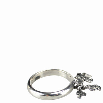 Ugo Cacciatori Silver ring with four-leaved clover