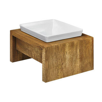 Artisan Rubberwood Single Elevated Dog Bowl Feeder — Bamboo