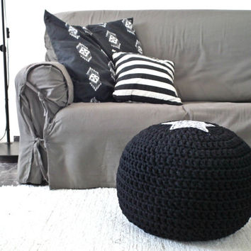 Black Ottoman Footstool Pouf - Dark Crochet Pouf - Modern Nurseries - Noir Crochet Floor Cushions Pouf  - Eco friendly Housewares