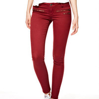 Emery Zip Twill Pants in Wine