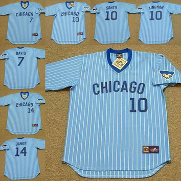 Men blue 7 JODY DAVIS 10 DAVE KINGMAN 10 RON SANTO 14 ERNIE BANKS Chicago Cubs throwback Baseball Jersey stitched