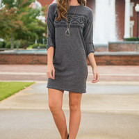 Travel The World Dress, Charcoal