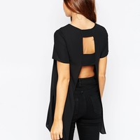 ASOS Longline T Shirt with Open Back