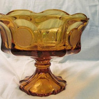 Fostoria Large Amber Coin Glass Candy Compote Pedestal Fruit Bowl Vintage 1960s