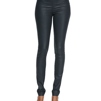 Stretch-Waist Coated Leggings, Size: