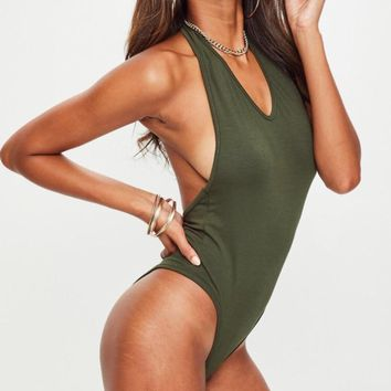 Going Deep Deep Plunging Halter Neck Backless Bodysuit