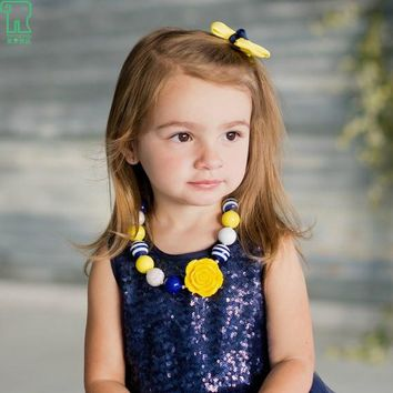 New Baby Yellow Rose Flower Chunky Beads Necklace for Girls, Toddler Bubblegum Necklace Kids Jewelry
