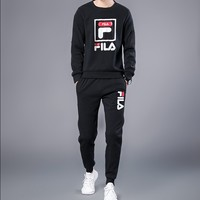 """Flia"" Men Casual Letter Print Round Neck Logo Long Sleeve Sweater Set Two-Piece Sportswear"