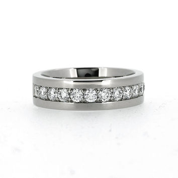 1.05ct Diamond wedding band made from 950 Platinum, man diamond ring, wide wedding ring, diamond eternity, unique, men platinum ring, modern