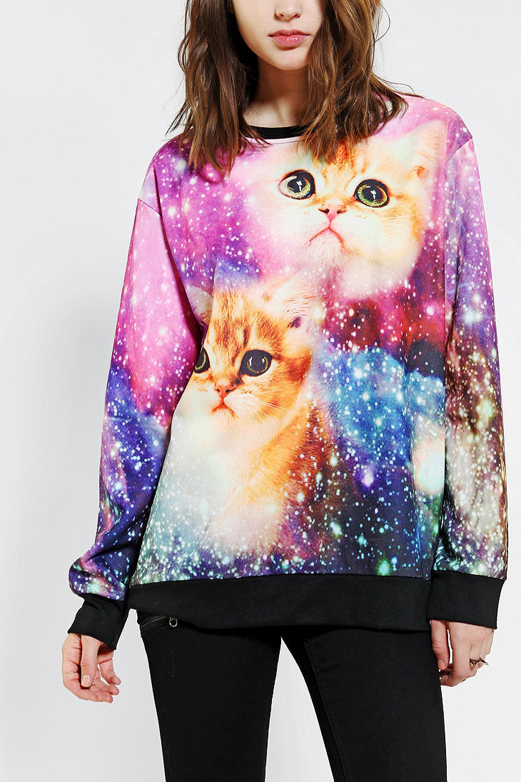 Galactic Cats Pullover Sweatshirt From Urban Outfitters