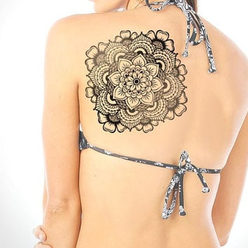 Large Mandala Temporary Tattoo - Yoga, Mandala, Henna, Temporary Tattoo, Large Tattoo, Original Mandala Drawing - NO. Q01