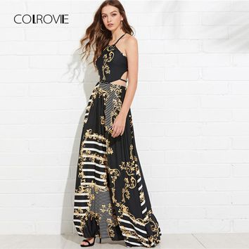 COLROVIE Floral Lace Up Cut Out Mixed Print Flare Halter Summer Dress Maxi Dress 2018 Vacation Sleeveless Beach Women Dress